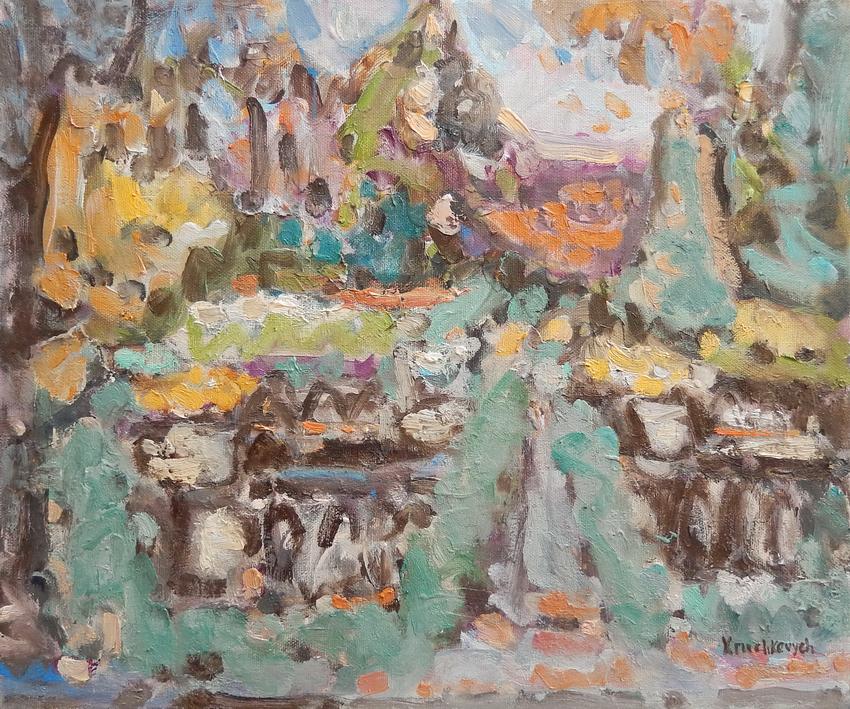 Jardin du Luxembourg, huile sur toile, 80x70 cm
