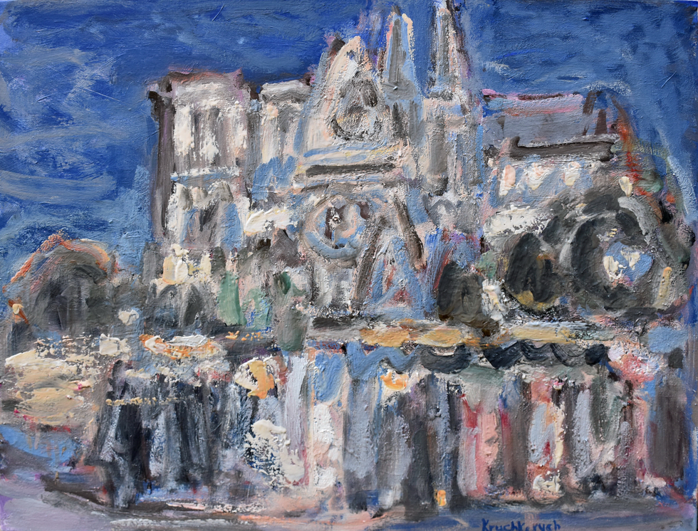 Notre-Dame at nigth, oil on canvas, 80x70 cm.