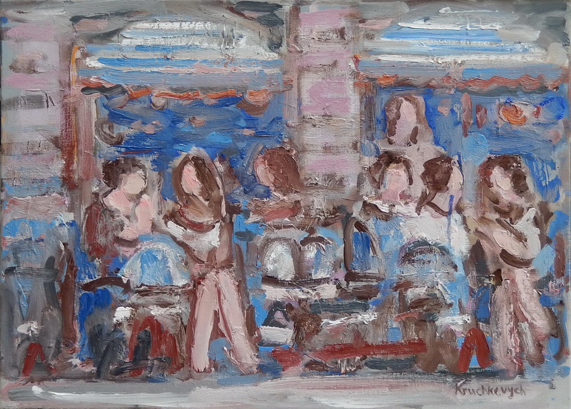 Sur la terrasse du cafe, oil on canvas, 70x55 cm.