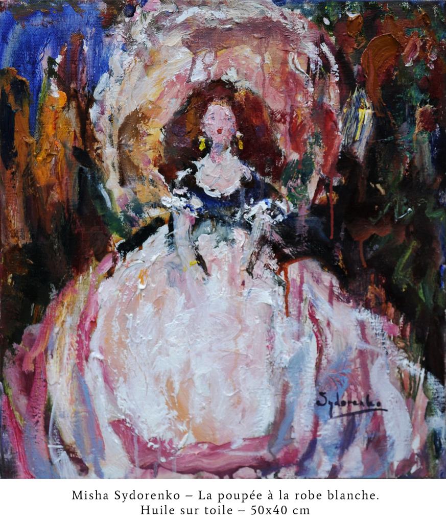 CAPTIONLa poupée à la robe blanche. Huile sur toile. 50x40 cm_resize